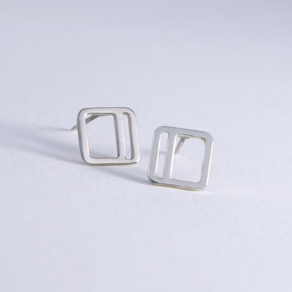 Square Stripe Stud Earrings shown in sterling silver with the vertical stripe option.