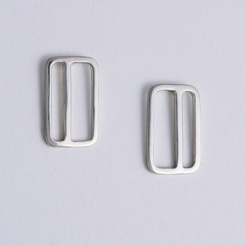 Vertical Transit Ticket Card Earrings in Sterling Silver made in NYC by Tinker Company