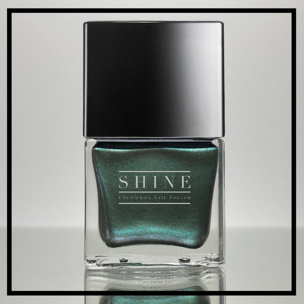 Esmeralda – Blue Green Base Laced with Bark Green, Black, Copper and Purple Multichrome Glitters Nail Polish