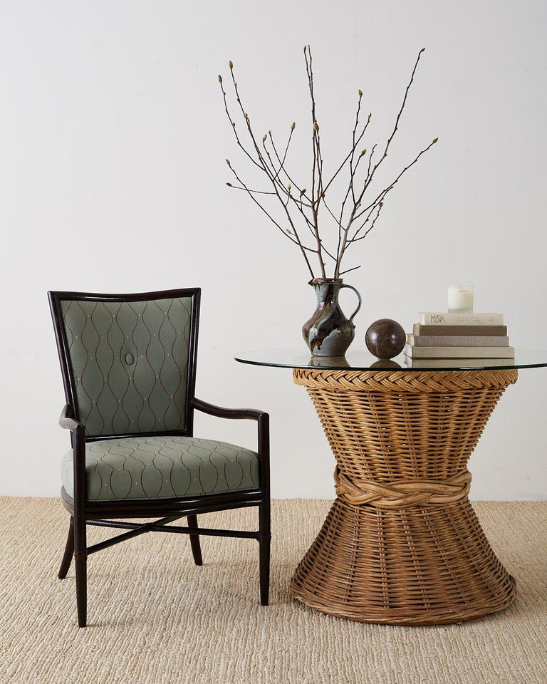 Set of Six Barbara Barry for McGuire Rattan Dining Chairs