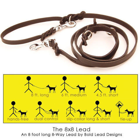 Brown leather leash with graphic for different ways to wear it