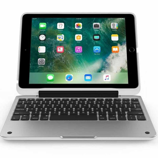 CLAMCASE PRO ALL-IN-ONE BLUETOOTH KEYBOARD CASE FOR iPAD 9.7 (5TH GEN) -WHITE/SILVER