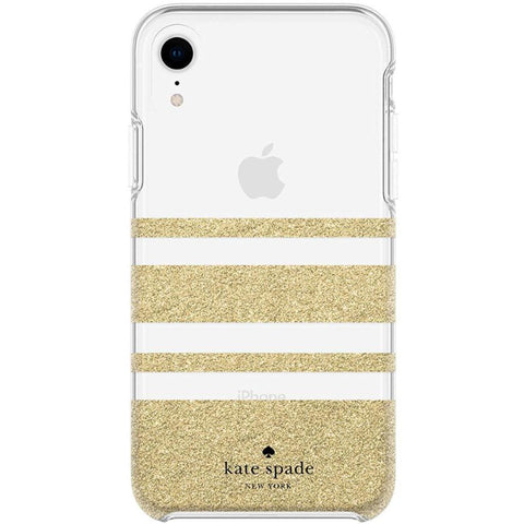 hardshell case for iphone xr gold colour from kate spade. stripe pattern.