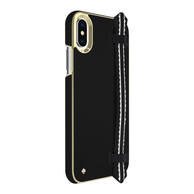 KATE SPADE NEW YORK WRAP STRAP CASE FOR IPHONE XS/X - SAFFIANO BLACK/GOLD Australia Stock