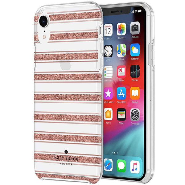 glitter case with stripe pattern for iphone xr from kate spade australia.