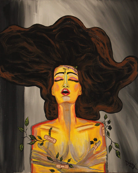 Acrylic painting of female with abundant floating hair with adhesive bandages covering several leaves sprouting wounds by Jasmín Camacho