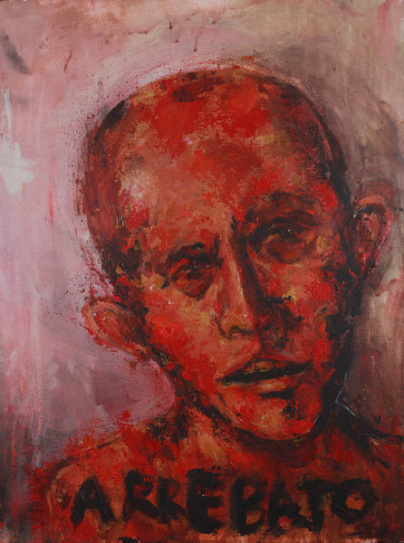 Acrylic abstract painting of portrait of a high on drugs red man by Valeria Mercado
