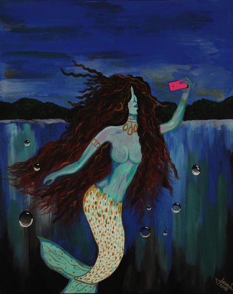 Acrylic painting of mermaid taking a selfie on a dark night by Jasmín Camacho