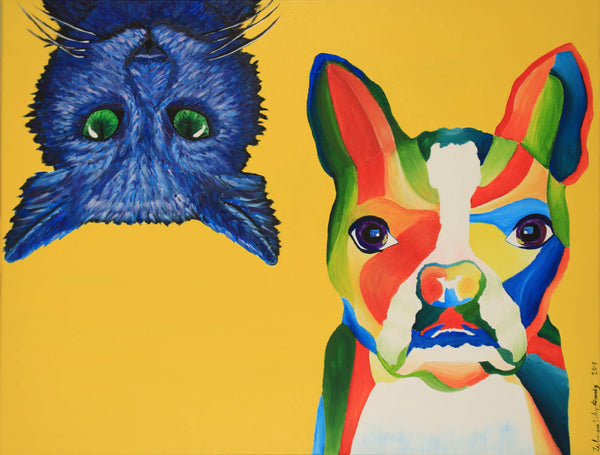 Acrylic painting of blue cat upside down and multi color dog by Zulmarie Vélez Acevedo