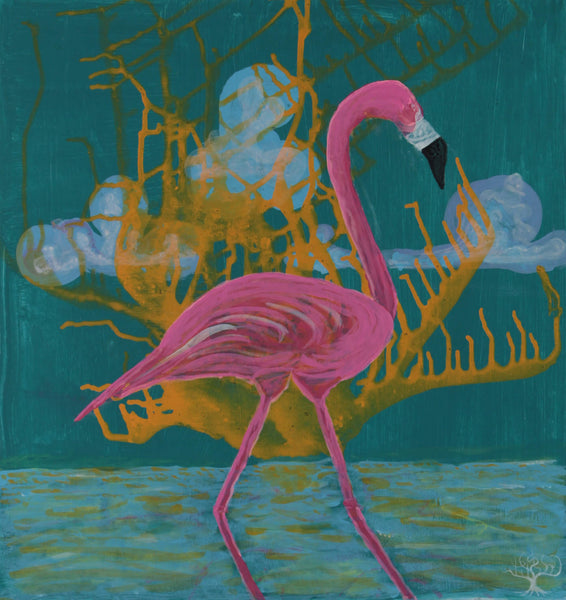 Acrylic painting of semiotic expressionism about flamingo by Kevo
