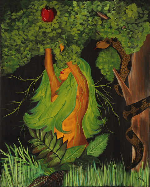Acrylic painting of Eve in paradise reaching out an apple from a tree by Jasmín Camacho