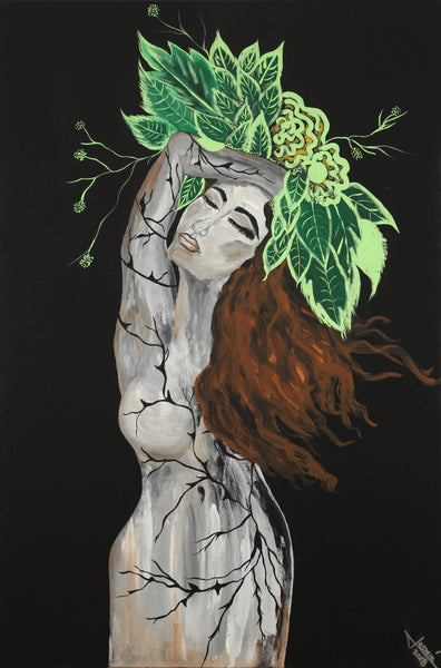 Acrylic painting of nude female with body of old dry tree and abundant brown hair holding a crown of leaves symbolizing evolution by Jasmín Camacho