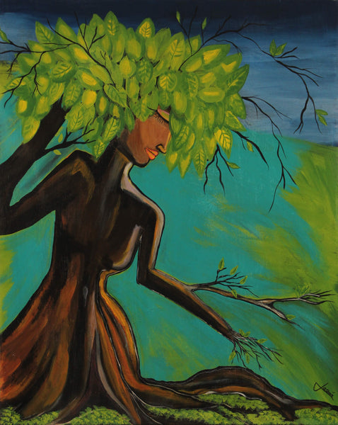 Acrylic painting of tree woman with leaves hair and branches as arms by Jasmín Camacho