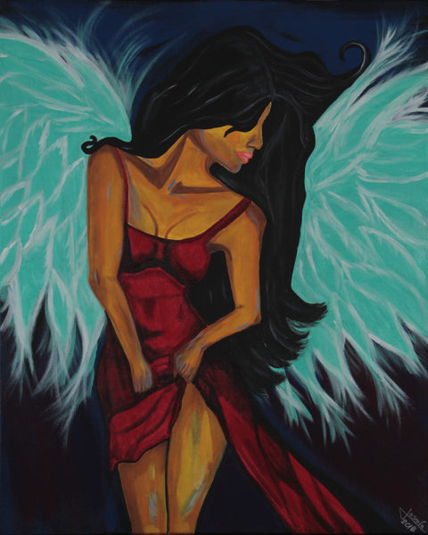 Acrylic painting of sexy dressing female angel with red dress and aqua blue wings by Jasmín Camacho