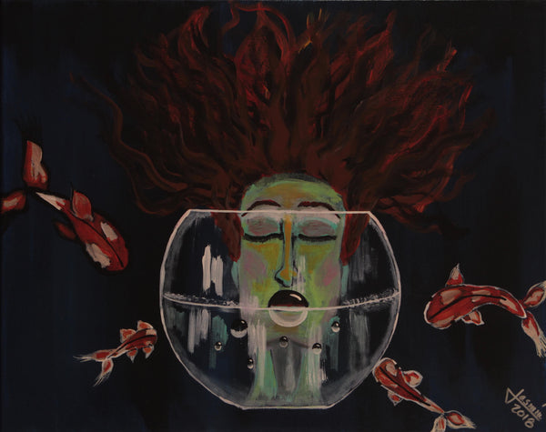 Acrylic painting of female head with spread red hair half submerge in a fish bowl by Jasmín Camacho