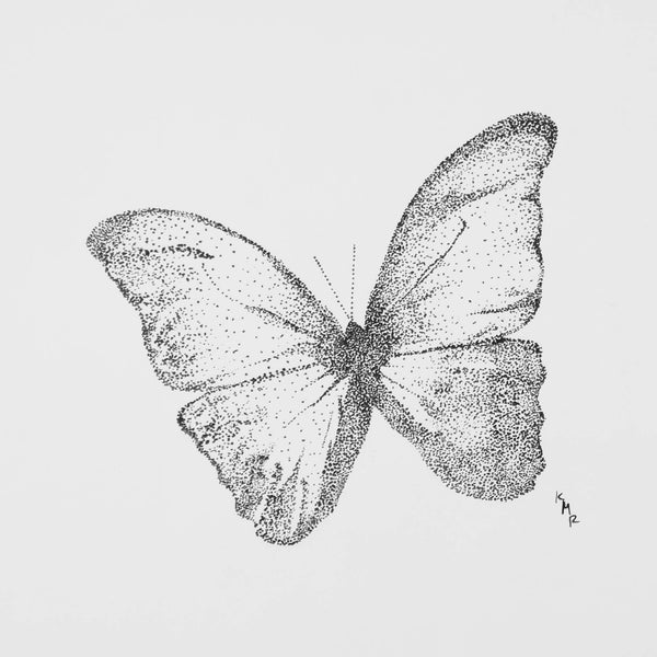 Ink dot drawing of newly born butterfly by Kevin Mejías