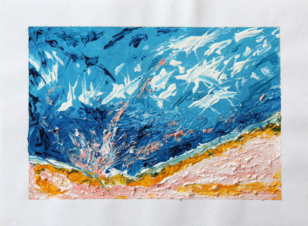 Abstract acrylic and pencil painting of scenery by Ludwig Medina