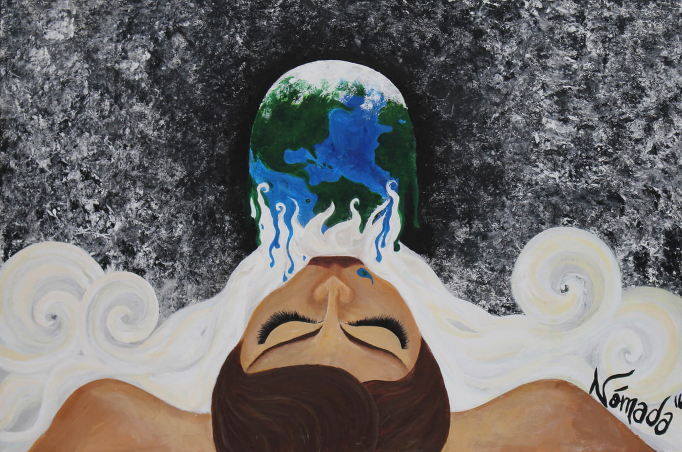 Acrylic painting of levitating Gaia exhaling Earth into the Universe by Nómada