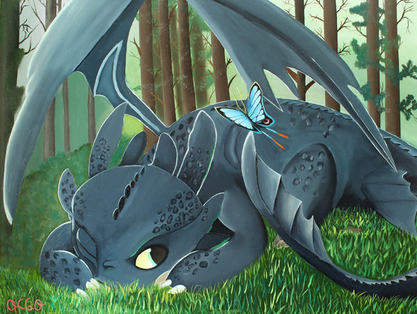 Oil painting of Toothless Dragon in the forest by a Andrea García.