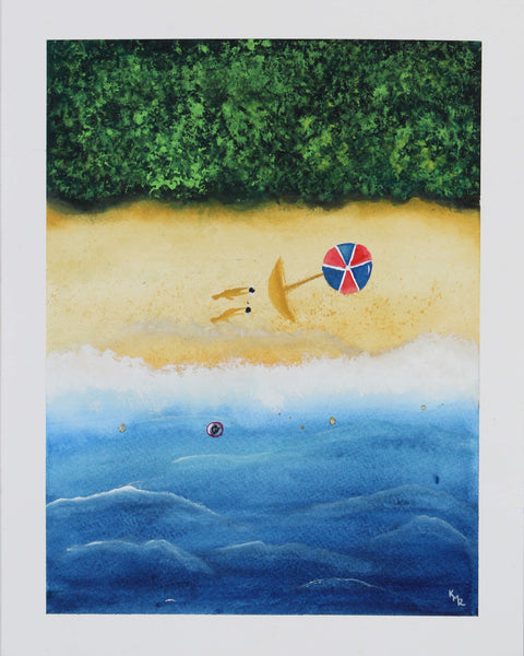 Watercolor painting of two bathers taking a sun bath on the beach sand by Kevin Mejías
