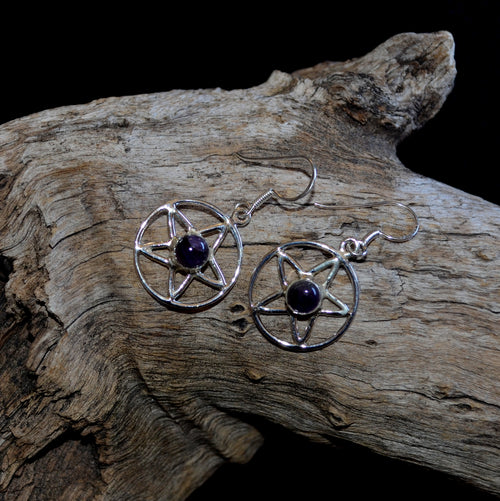 Amethyst 925 Silver Pentagram Handcrafted Drop Earrings (SI1-33AM)