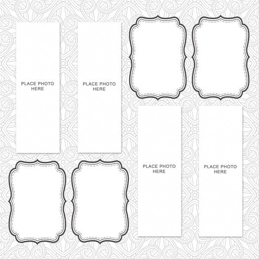 Abstract White Design Scrapbook Pages 2x6