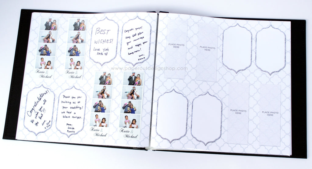White and Gray Quatrefoil Design Scrapbook Pages 2x6