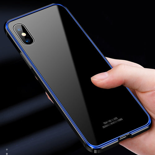 iPhone Case - Luxury Metal Tempered Glass Case for iPhone XR XS Max