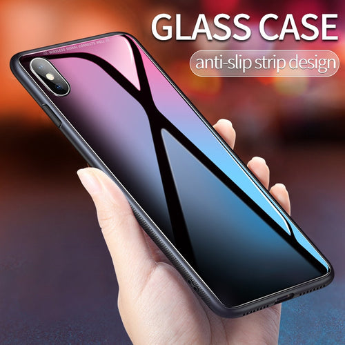 iPhone Case - TPU Shockproof Tempered Glass Case For X XS MAX