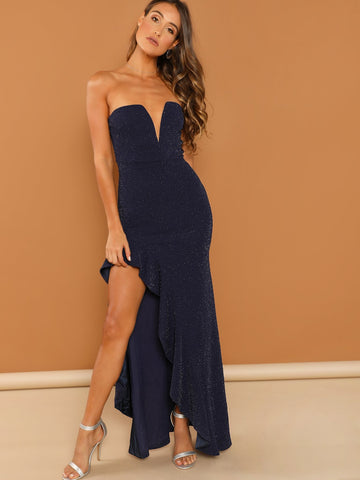 Asymmetrical Ruffle Hem V Bar Bandeau Glitter Dress