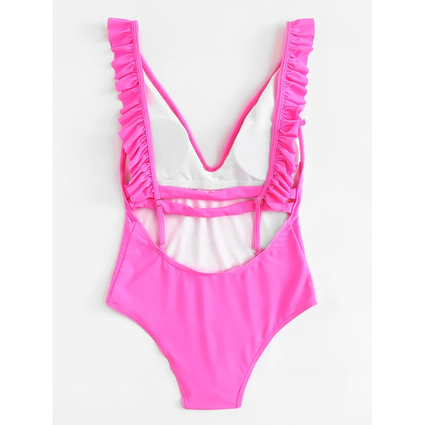 Open Back Ruffle Swimsuit HOT PINK
