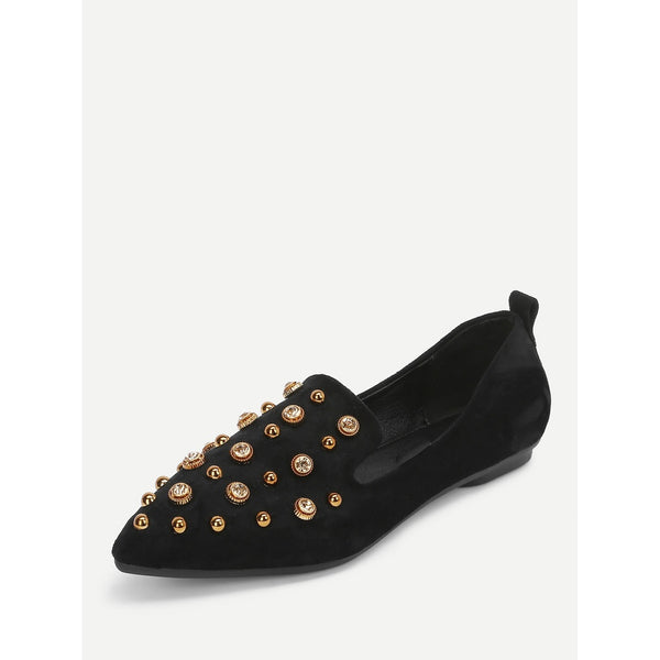 Studded Decor Pointed Toe Flats - Anabella's