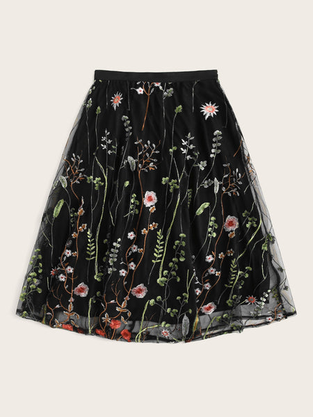 Embroidery Mesh A-line Midi Skirt
