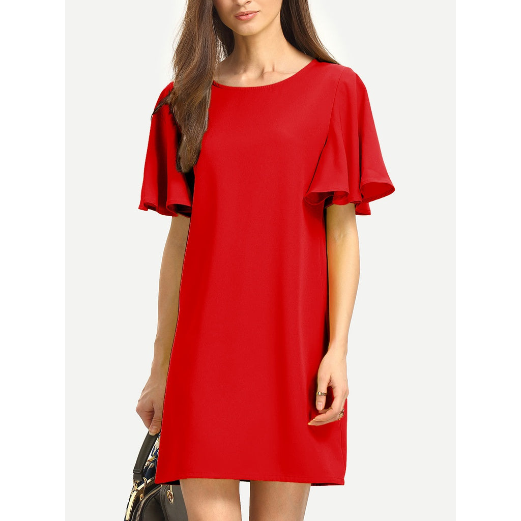 Flutter Sleeve Tunic Dress - Anabella's