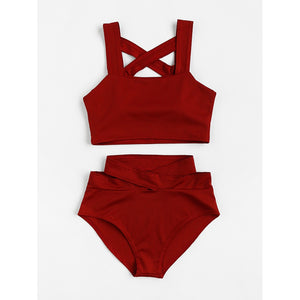 Criss Cross High Waist Bikini Set RED
