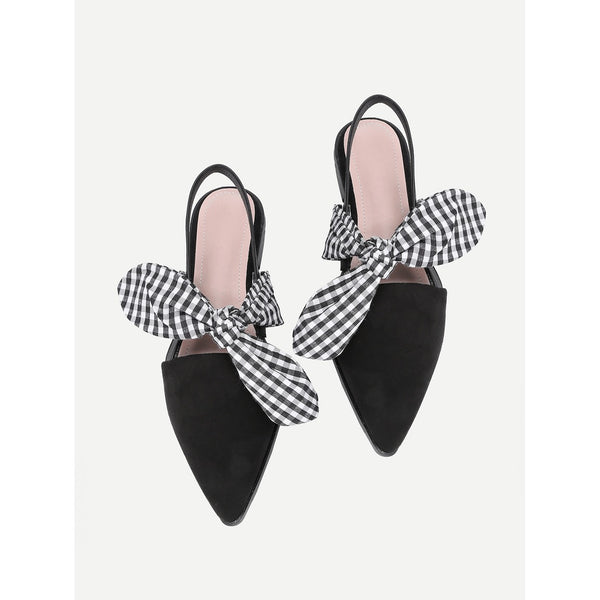 Gingham Bow Tie Decorated Pointed Toe Flats - Anabella's