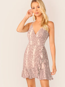 Snakeskin Print Ruffle Trim Knotted Cami Dress