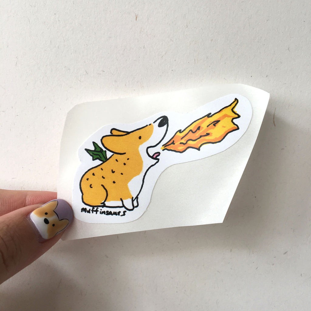 Fire Breathing Corgi Sticker