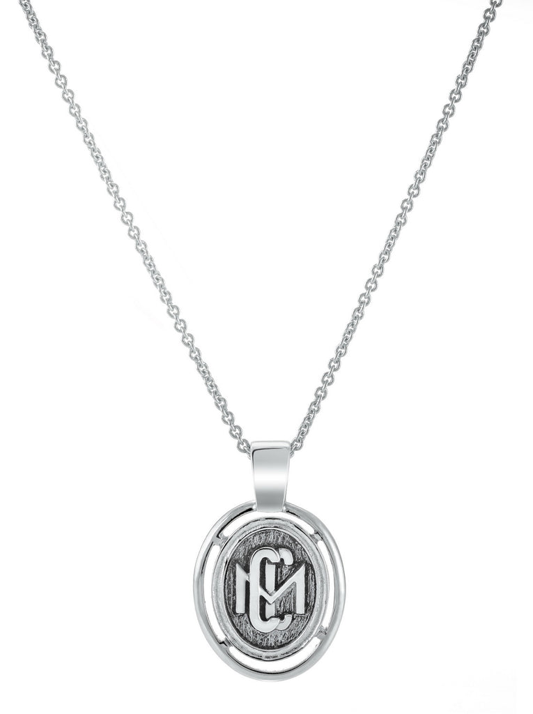 Sterling Silver CMC custom design class pendant by AMD Originals with silver chain, zoomed out view.