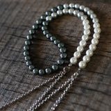 Handmade round shell black/gray/white pearls, Chain long tassel necklace