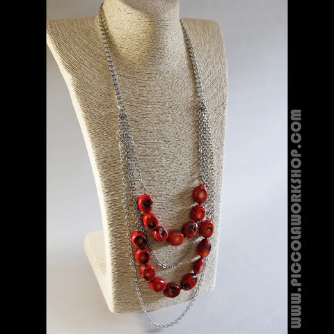 Handmade Red Natural Coral Beads Necklace, Stainless Steel Chains Necklace, Multi Strand Necklace