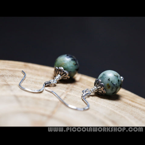 African Turquoise Bead Earrings