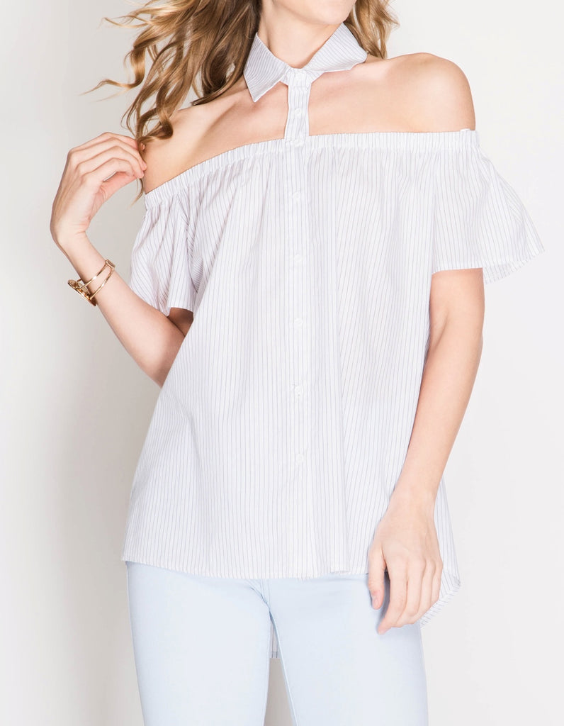 Off Shoulder Top With Collar