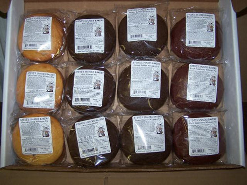 assorted whoopie pies with labels in a box
