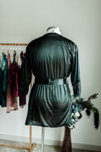 Satin and Lace Robe - Black - Plus Size