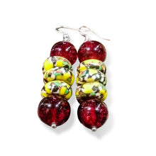 Red and yellow earrings - crafted with authentic African glass beads