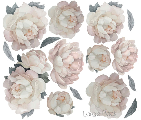 Peony Wall Stickers - Vintage White
