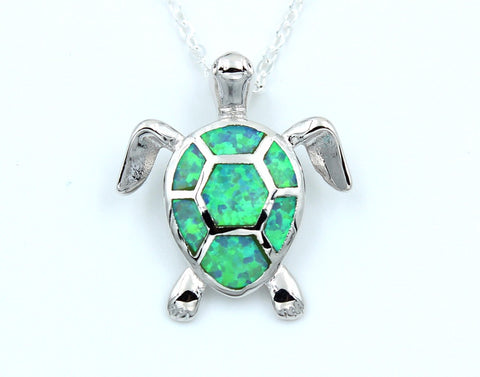Fire Opal Sea Turtle Pendant Necklace