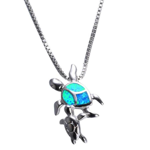 Opal & Silver Turtle Pendant Necklace
