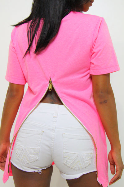 WOMEN'S PINK LONG FISHTAIL SHIRT